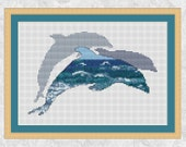 Dolphins cross stitch pattern, printable ocean marine wildlife counted cross stitch chart, sea dolphins silhouette, modern pattern PDF