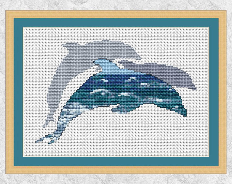 Dolphins Cross Stitch Pattern Printable Ocean Marine Wildlife