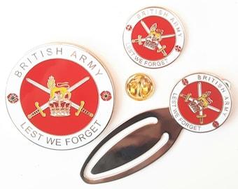 British Army Full Set Commemorative Enamel Coin, Enamel Badge and Bookmark