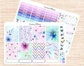 Watercolor Flowers Little Weekly Set (matte planner sticker, fits perfect in Erin Condren Life Planner Vertical)
