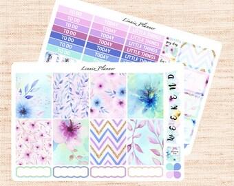 Watercolor Flowers Little Weekly Kit (matte planner sticker, fits perfect in Erin Condren Life Planner Vertical)