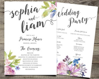 Purple Chic Boho Calligraphy Wedding Program, Printable Floral Wedding Order of Service, Bohemian Wedding Ceremony, Spring / Summer Wedding