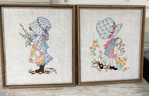 Vintage Holly Hobbie Embroidery Framed Pair Linen Embroidery