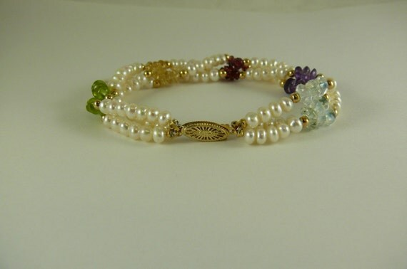 Freshwater Pearl Bracelet with Multicolor Gemstone Beads 14k Yellow Gold Clasp