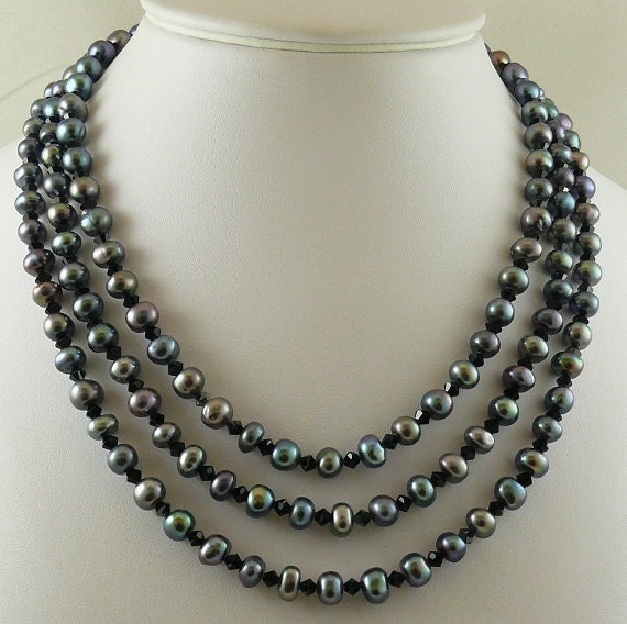 Freshwater Black Pearls and Austrian Crystal Necklace with Sterling Silver Clasp