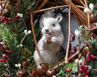 Christmas Squirrel Wreath - Christmas Twig Wreath - Wildlife Squirrel Wreath - Woodland Squirrel Wreath