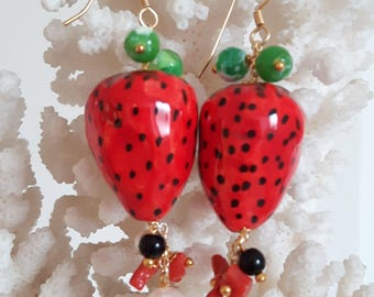 Caltagirone ceramics, Silver earrings and coral, agate, Sicilian earrings