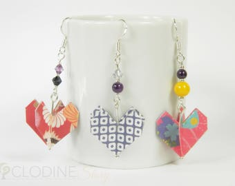 Origami heart earrings, Origami earrings, Paper jewelry, Papercraft, Origami heart, Heart shaped jewelry, Geometric, Handmade, Colorful