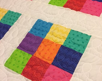 Colorful Twin Size Nine Patch Quilt