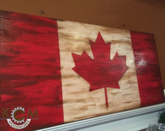 Engraved Canadian Flag Sign, Hand painted, Rustic Wood Sign, Custom Distressed Sign, Home Wall Decor