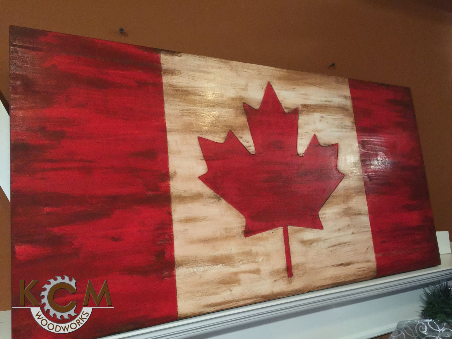 Engraved Canadian Flag Sign Hand Painted Rustic Wood Sign