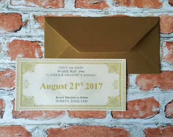 Harry Potter Hogwarts Express Ticket Inspired Wedding Save the Date - Envelope Included