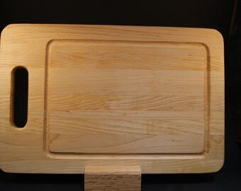 Handmade Hard Maple Wood Cutting Board with Juice Groove