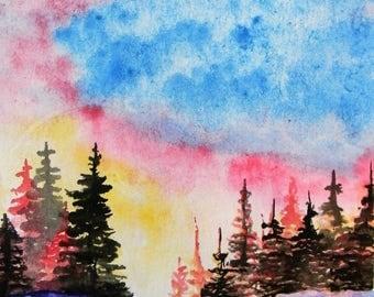 Original Watercolor Painting - Winter Sunset