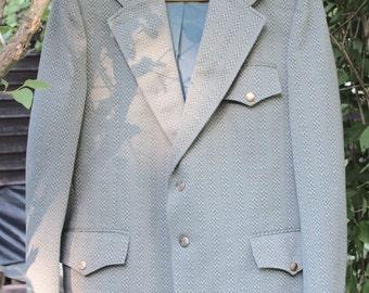Hipster 1970's Polyester Blazer Men's 44R Nerd Geek Grandpa's Jacket