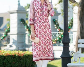 "Ready to wear Cotton Kurti/ XXL 44""/ XL 42"" /Mother's Day / Easter/ Gift"