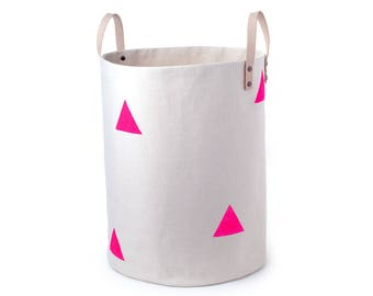 CANVAS STORAGE BIN - Hand Painted Pink Triangles Canvas and Leather