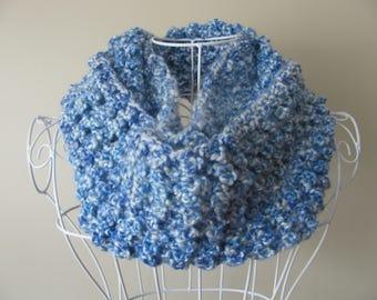 Blue/Blue scarf crochet infinity scarf