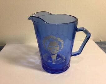 Shirley Temple Pitcher, Hazel Atlas Cobalt Blue Glass