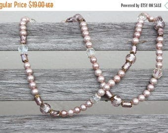 ON SALE Pale pink beaded necklace with faceted glass beads