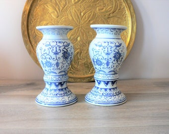 Blue and White Chinois Ceramic Candle Holders - Pillar Candle Holder Pair - Candlestick Holder Pair