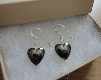Hematite Bead Heart earrings