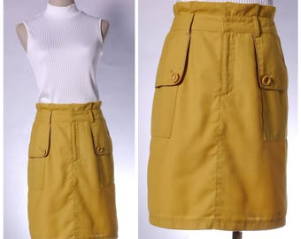 Vintage mustard yellow A-line skirt with side pocket