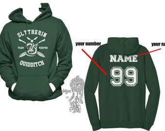 KEEPER - Custom back, Slyth Quidditch team Keeper White print printed on Forest green Hoodie