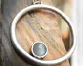 Moonstone Orbit Pendant, Moonstone Cradled Pendant, June Birthstone, Rustic Pendant, Mystic Moonstone, Gray Moonstone