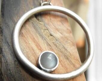 Moonstone Orbit Pendant, Moonstone Cradled Pendant, June Birthstone, Rustic Moonstone Pendant, Mystic Moonstone Pendant, Gray Moonstone
