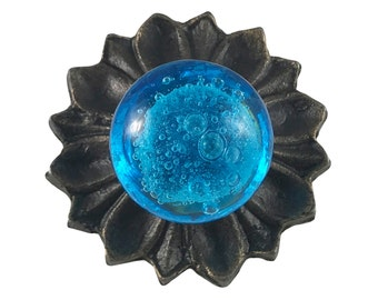 Blue Glass Knob with Metal Backplate Drawer Pull, Dresser Knob, Cabinet Pull - G13BP1