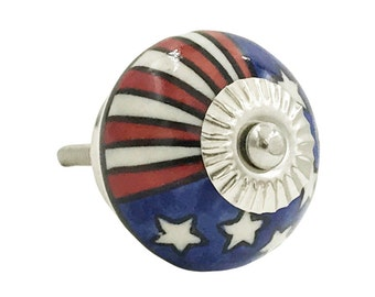 US Flag Patriotic Red, White, Blue Ceramic Decorative Drawer or Door Knob Pull - i1065s