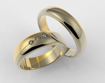 Wedding rings 14k white gold and yellow gold wedding rings