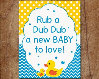 Rubber Ducky Baby Shower Sign, Rub A Dub Dub Baby Shower Printable Sign, Yellow Duck Sign, Duckie Baby Shower Party Decor