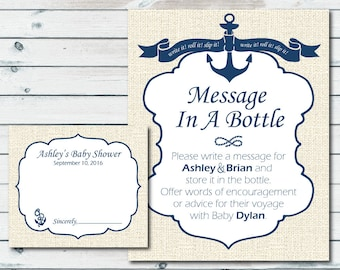 Nautical Baby Shower Printable Sign And Cards, Custom Message In A Bottle Baby  Shower Sign