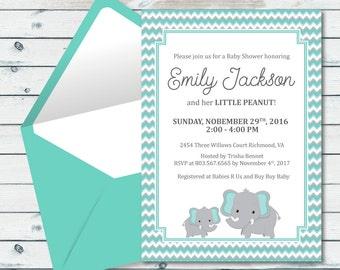 Elephant Baby Shower Printable Invitation, Mint And Grey Elephant Baby Shower Invite, Mint And Gray Chevron Baby Printable Invite