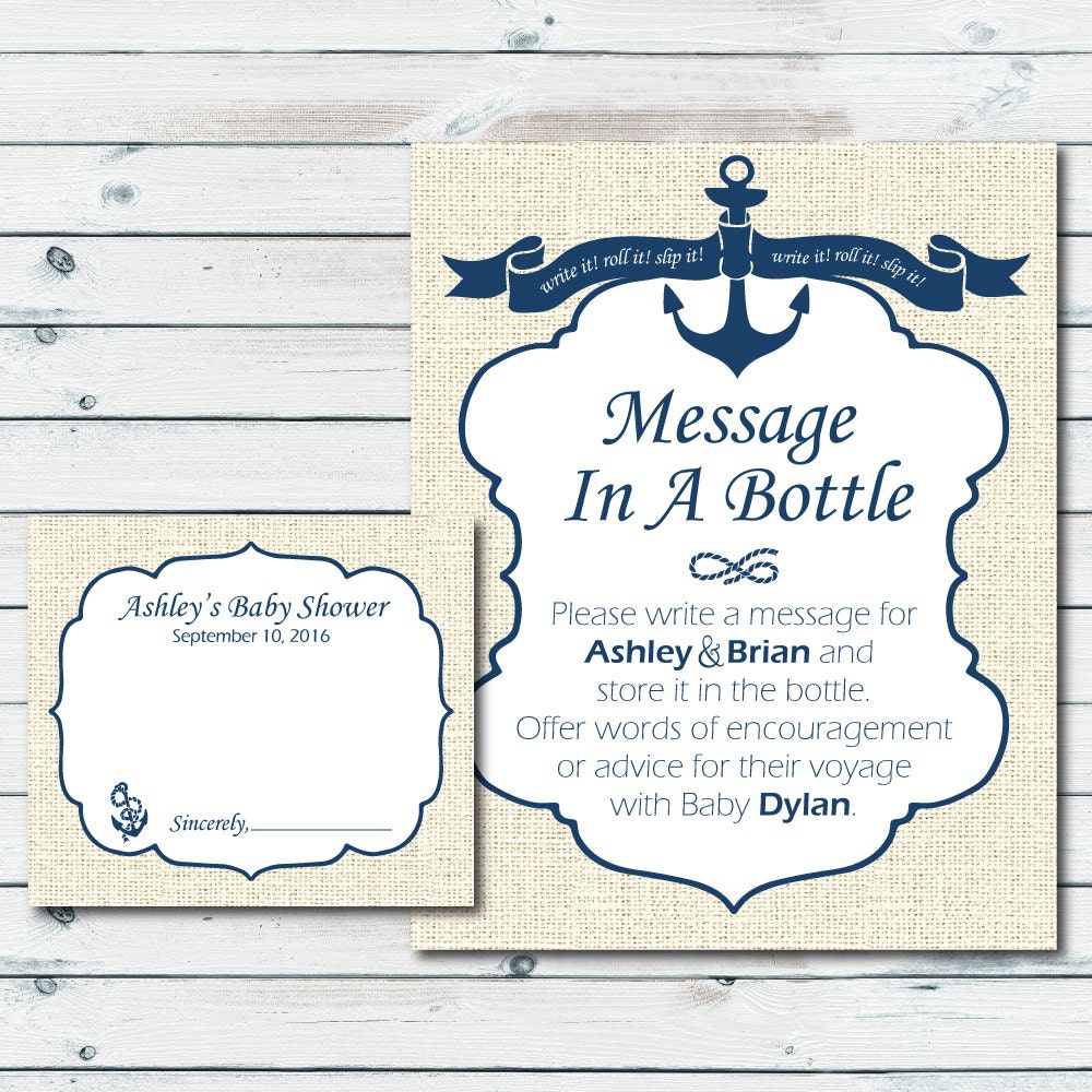 Baby Shower Message For Card: Nautical Baby Shower Printable Sign And Cards Custom Message