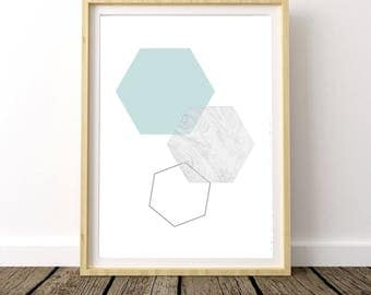 Affiche Scandinave, Modern Print, Marble Print, Scandinavian Poster, Geometric Art, Mint Green, Hexagon Wall Art, Mint Wall Art, Home Decor