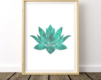 Watercolor Lotus Flower, Blue Lotus, Yoga Artwork, Gift for Wife, Stress Relief, Lotus Flower, Watercolor Lotus, Watercolor Flowers