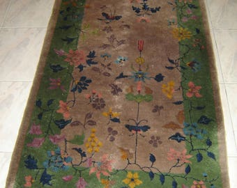"Antique Chinese Art Deco carpet Rug Woven Wool 38"" x 72"" Walter Nichols ? Rare."