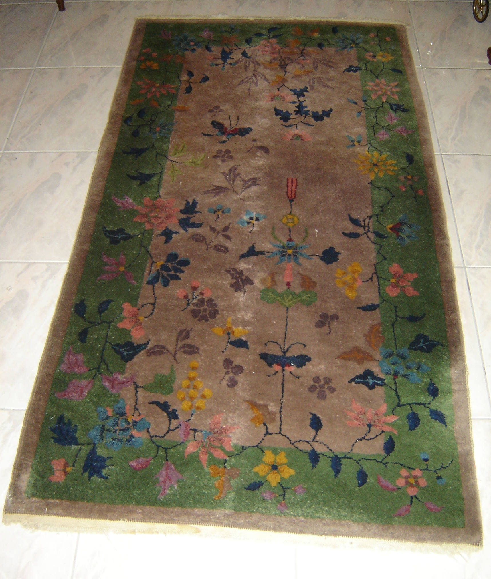 Antique Chinese Art Deco Carpet Rug Woven Wool 38 X