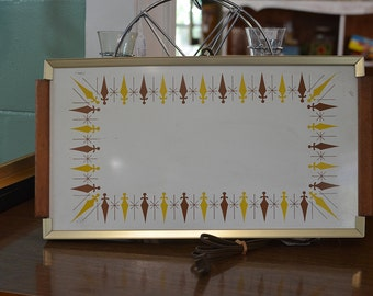 Mid-Century Modern Gold and Brown Plate Warmer Tri-Temp Tray (Mid Century Plate Warmer)