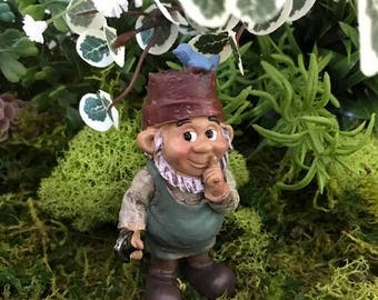 Miniature Gnome with Flower Pot Hat and Blue Bird