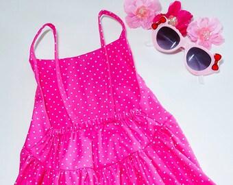 Retro pink spot dress - pink spotted - casual summer dress - girls casual dress - cotton girls frock