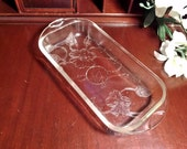 Clear Embossed Floral Loaf Pan Cover 1930s