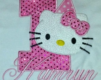 Pink Glitter Hello Kitty 1st Birthday Onesie Personalized