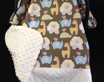 Car Seat Canopy/ Car Seat Cover/ Gender Neutral/Giraffe/Lion/Elephant/Turtle