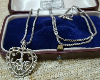 """Vintage solid silver necklace, heart shaped """"I love you"""" message pendant"""