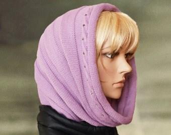 Lilac hood scarf, Knit hooded cowl, Winter wool snood, Womens scoodie, Wool cowl scarf, Knitted cowl hood, Black hoodie snood
