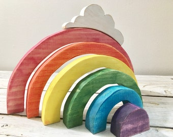 Waldorf rainbow stacker with cloud